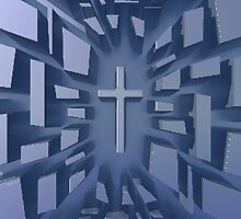 Abstract 3D Christian Cross by morningdance