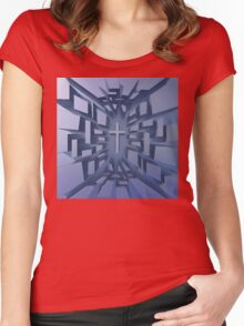 Abstract 3D Christian Cross Women's Fitted Scoop T-Shirt