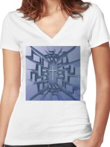Abstract 3D Christian Cross Women's Fitted V-Neck T-Shirt