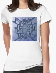 Abstract 3D Christian Cross Womens Fitted T-Shirt