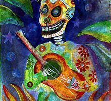 Mariachi Gutar Player Day of the Dead Skeleton by dayofthedeadart