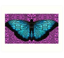 Stone Rock'd Butterfly 2 By Sharon Cummings Art Print