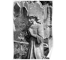 Winged Angel praying in a graveyard Poster