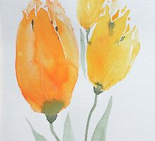 Yellow Tulips, Original Watercolor Painting For Your Home Decor. For Sale, see Artist Notes by Oleksandr Levin