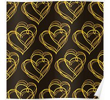 Brown Heart Pattern Poster