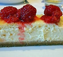 Slice of White Chocolate Cheesecake with Raspberries by BlueMoonRose