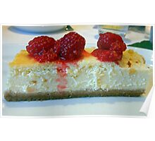 Slice of White Chocolate Cheesecake with Raspberries Poster