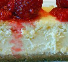 Slice of White Chocolate Cheesecake with Raspberries Sticker