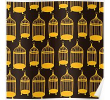Brown Bird Cage Pattern Poster