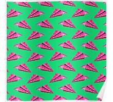 Pink Paper Plane On Green Base Poster