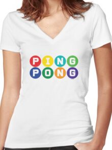 Ping Pong - primary colors Women's Fitted V-Neck T-Shirt