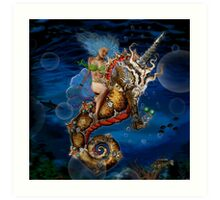 Twyla and the Unicorn Seahorse Art Print