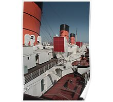 Port Side...Queen Mary...Looking Aft... Poster