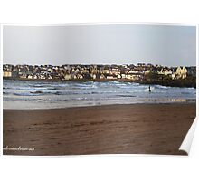 Town and Surfer - Portstewart Strand Poster