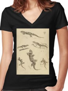 The Reptiles of British India by Albert C L G Gunther 1864 0503 Gecko Sinhonis, Subpalmatus etc Women's Fitted V-Neck T-Shirt