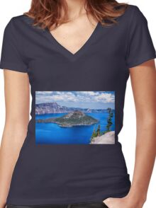 ISLAND IN BLUE Women's Fitted V-Neck T-Shirt