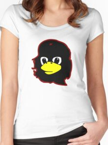 Linux tux Penguin Che guevara guerilla Women's Fitted Scoop T-Shirt