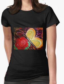 Rose Butterfly Womens Fitted T-Shirt
