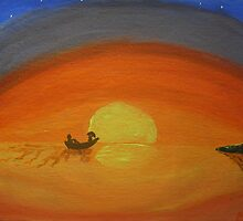 Romantic boat ride at sunset in acrylic by hopelessmoo