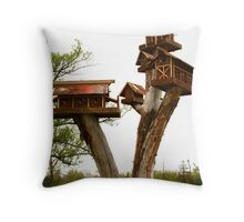 Bird village Throw Pillow