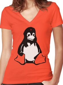 Linux tux Penguin Che  Women's Fitted V-Neck T-Shirt