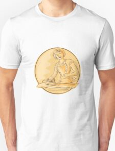 Homemaker Ironing Clothes Vintage Etching T-Shirt