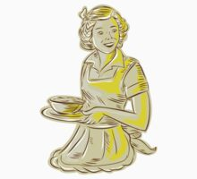 Homemaker Serving Bowl of Food Vintage Etching by patrimonio