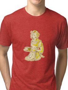 Homemaker Serving Bowl of Food Vintage Etching Tri-blend T-Shirt