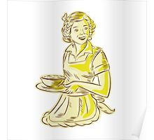 Homemaker Serving Bowl of Food Vintage Etching Poster