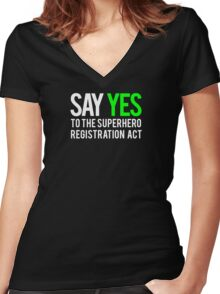 Civil War - Say Yes - White Clean Women's Fitted V-Neck T-Shirt