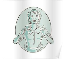 Housewife Drinking Cup of Coffee Etching Poster