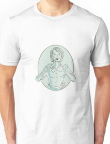 Housewife Drinking Cup of Coffee Etching Unisex T-Shirt