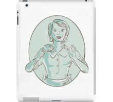 Housewife Drinking Cup of Coffee Etching iPad Case/Skin