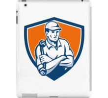 Mechanic Holding Spanner Arms Crossed Shield Retro iPad Case/Skin