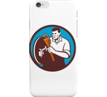 Plumber Brandishing Wrench Circle Retro iPhone Case/Skin
