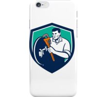 Plumber Brandishing Wrench Shield Retro iPhone Case/Skin