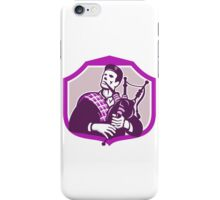Scotsman Playing Bagpipes Shield Retro iPhone Case/Skin