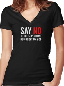 Civil War - Say No - White Clean Women's Fitted V-Neck T-Shirt