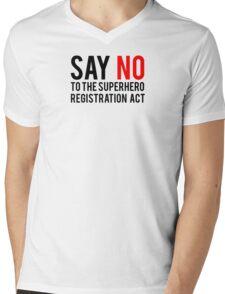 Civil War - Say No - Black Clean Mens V-Neck T-Shirt