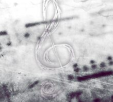 Music! Treble clef with Grunge Vintage Texture - DJ Retro Music Art Prints - iPhone and iPad Cases by ddtk