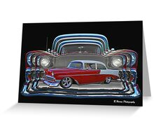 Multiple Red and White Chevy Belair Abstract Greeting Card