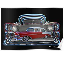 Multiple Red and White Chevy Belair Abstract Poster
