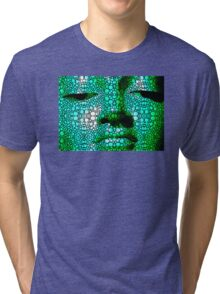 Green Buddha - Stone Rock'd Art By Sharon Cummings Tri-blend T-Shirt