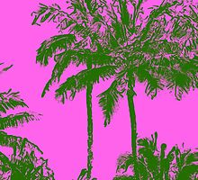 Makena Beach Hawaiian Sketchy Palms - Olive and Fuchsia  by DriveIndustries