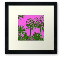Makena Beach Hawaiian Sketchy Palms - Olive and Fuchsia  Framed Print