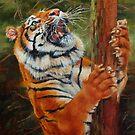 Tiger Chasing Prey by Margaret Stockdale