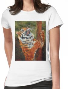 Tiger Chasing Prey Womens Fitted T-Shirt