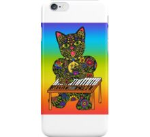 Piano Playing Lucky Black Cat  iPhone Case/Skin