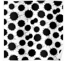 Inky Blots - Black on White Poster