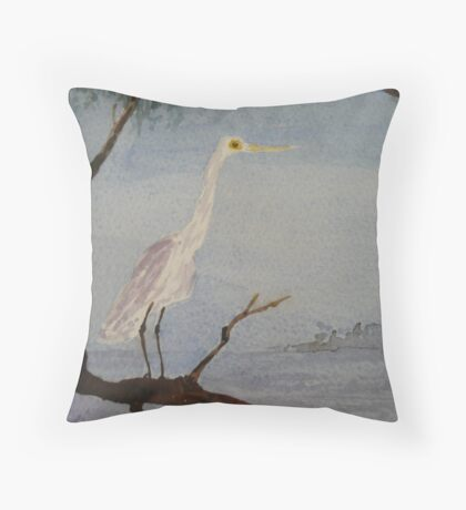 Egret on the Coopers Creek, South Australia. Throw Pillow
